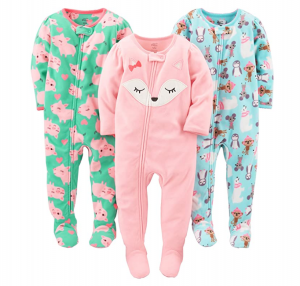 Simple Joys by Carter's Baby Girls' Fleece Footed Pajamas (3-Pack)